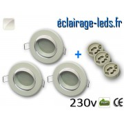 kit Spots LED Gu10 Blanc naturel encastrable blanc orientable perçage 70mm ref kgu10-02
