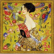 "Lady with A Fan/G. Klimt's Painting Counted Cross Stitch Kit-13.75""X13.75"" 14 Count (Pack of 1)"