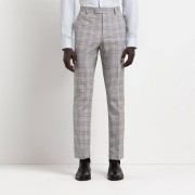river island Mens Grey check slim fit trousers (30L)