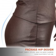 EH Mujeres Lady Estiramiento Alta Cintura Lápiz Falda Rodilla-longitud Vestido Sexy Vestido Envuelto M - Color Café