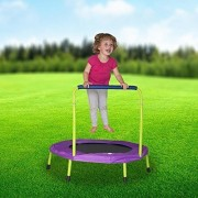 Mini Indoor Trampoline with Handle for Kids and Toddlers - Fold and Go (Exclusive Lime Green & Purple)