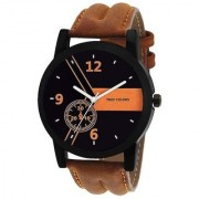 i DIVA'S Leather Quartz Time Zone Brown Watch For Men