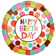 Balon folie 45 cm Happy Birthday Colors
