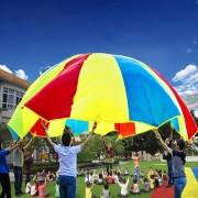 2m Hijos Juego Al Aire Libre Ejercicio Deporte Juguetes Rainbow Umbrella Parachute Jugar Divertido Juguete Con 8 Manija Correas Para Familias / Jardines / Parques De Atracciones