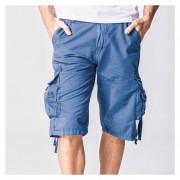 Moda De Los Hombres Casual Suelto Carga Pantalones Cortos (Azul)