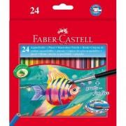 Faber-Castell Conf. 24 Matite Colorate Acquerellabili Red Range Con Pennellino In Dotazione