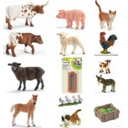 Schleich Black Sheep Set Of 14 Farm Animal Toys Including Mini Shetties, Hereford Cows, Goats, Ducks, Labrador, And Cat, Gift Bagged For You