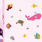 Wall Dreams Under Sea/Ocean Educational learning Animation/Cartoon shark crab colourful fishes star fish shells Kids Room Wall Stickers (50cmX70cm)