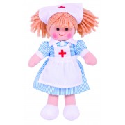 Papusa Nurse Nancy, materiale textile de calitate, 28 cm