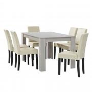 [en.casa] Mesa de comedor diseño - blanco - Set de sillas con estilo elegante - crema - 140cm x 90cm x 77cm