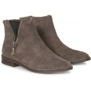 Clarks Cabaret Ruby Khaki Suede Boots For Women(Green)