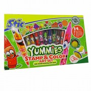 Stic yummies stamp & color art set 24 pieces, 10 twin-tip pens 8 rummer stamps 2 stamp handles 4 stamp & color sheets (multicolor) birthday gift return
