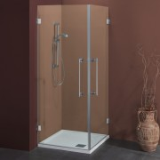 Box doccia ad angolo con apertura esterna 90x90 in cristallo 8 mm Cerniere Sabbiato Lampi