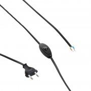 QAZQA Cavo di collegamento con interruttore e spina nero 80-120cm