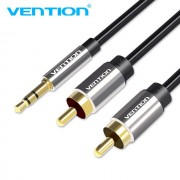 Cablu audio 3.5mm stereo - 2 RCA, 2 metri, negru