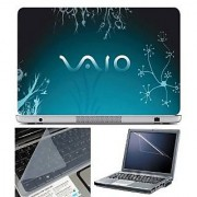 FineArts Laptop Skin VAIO Blue Floral With Screen Guard and Key Protector - Size 15.6 inch