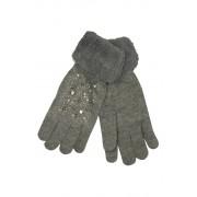 Gloves Lady dámské rukavice s kamínky šedá
