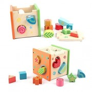 Biowow 10 Piece Wooden Shape Sorter Toy Polychrome Hole Cube Wooden Educational Toys for Cognitive and Maths Learning Multiple Color Shapes Kid Children Intelligence Development