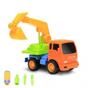 Rvold Take-A-Part Toy Vehicle Excavator Friction Powered Kit Truck Tools Sets Inertia Engineering Construction Building Truck Fun Educational Toys for Kids (Color May Vary)