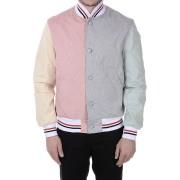 【79%OFF】カラーブロック ボンバージャケット ピンク/グレー 4 ファッション > メンズウエア~~ジャケット