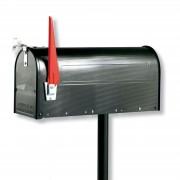 US mailbox with pivotable flag, black