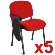 Hjh Lote 5 Sillas de Confidente MOBY con PALA escritura en rojo