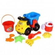 Set camion de plastic cu accesorii galbene 25 cm 8 bucati