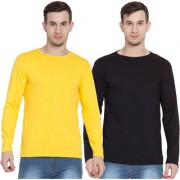 Cliths Men's Classic Full Sleeves Tshirt For Men/ Yellow And Black Round Neck Tshirts- Set Of 2