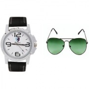 CALIBRO White-Black Men's watch Green Aviator Sunglass