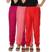 Culture the Dignity Women's Rayon Solid Casual Pants Office Trousers With Side Pockets Combo of 3 - Magenta - Baby Pink - Red - C_RPT_M1P2R - Pack of 3 - Free Size