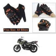 AutoStark Gloves KTM Bike Riding Gloves Orange and Black Riding Gloves Free Size For Yamaha SZ-RR