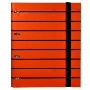 Caiet mecanic A4 Senfort T-Stripes, 4 inele, 120 coli, portocaliu