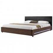 MyBed LED Cama tapizada 140x200cm negro/marrón cuero sintético cama doble - Aguilar de la Frontera