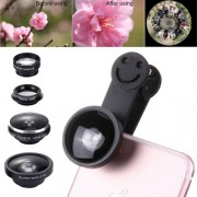 5 in 1 Universal 0.4X Super Wide Angle Lens + 235 Degrees Fisheye Lens & 19X Macro + Telephoto Lens 2X + CPL Lens + Smiling Face Clip External Phone Lens for Mobile Phones / Tablet PC(Black)