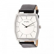 Simplify The 5400 Leather-Band Watch - Silver/Black SIM5401