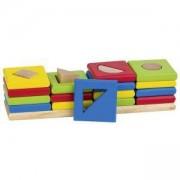 Дървена Низанка, форми и цветове Goki, 4 кули, 871055