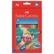Creioane colorate 36 culori acuarela + pensula Faber-Castell
