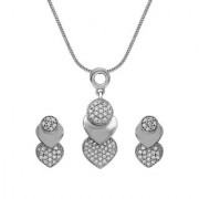 Mahi Valentine Gift Brilliant Heart Art Rhodium Plated Pendant Set with Crystals for Women NL1103687R
