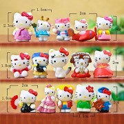 15Pcs/set 2-3 CM Hello Kitty Figures Cartoon Toys