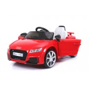 Mașinuță electrică pentru copii Audi TT, Roșie, Licență Originală, cu Baterii, Uși care se deschid, Scaune din Piele, 2x Motoare, Baterie de 12 V, Telecomandă 2.4 Ghz, roți ușoare EVA, pornire Lină