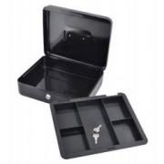 Caseta - Cutie din Metal pentru Pastrat Bani Inchidere cu Cheie Culoare Negru Dimensiuni 30x24x9cm