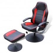 vidaXL Poltrona ajustável + apoio pés, couro artificial preto/vermelho