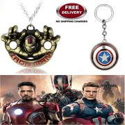 (2 Pcs AVENGER SET) - IRONMAN HANDS IMPORTED PENDANT (GOLD) & CAPTAIN AMERICA REVOLVING SHIELD KEYCHAIN. LADY HAWK DESIGNER SERIES 2018. ❤ ALSO CHECK FOR LATEST ARRIVALS - NOW ON SALE IN AMAZON - RINGS - KEYCHAINS - NECKLACE - BRACELET & T SHIRT - CAPTAIN
