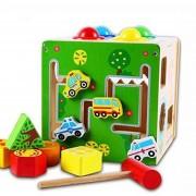 Cub educativ Montessori din lemn 5 in 1 cu activitati, labirint, sortare, ciocanel cu bile