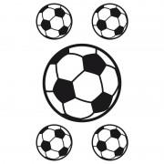 Merkloos 5x Raamstickers voetbal raamdecoratie