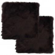 vidaXL Coussins de chaise 2pcs Marron 40x40cm Peau de mouton véritable