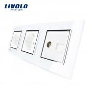 Priza tripla Livolo cu rama din sticla 2 prize simple+TV/internet, alb
