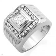 Мъжки сребърен пръстен с циркон