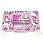 Dfs Premium Stationery Gift Set ,Hello Kitty (With Pencil Box, Pencils, Eraser, Sharpener, Ruler, Notebook )