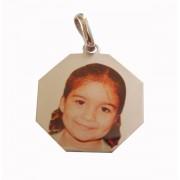 Pingente de Ouro com foto gravada / Fotogravação Colorida 18.3mm x 18.3mm